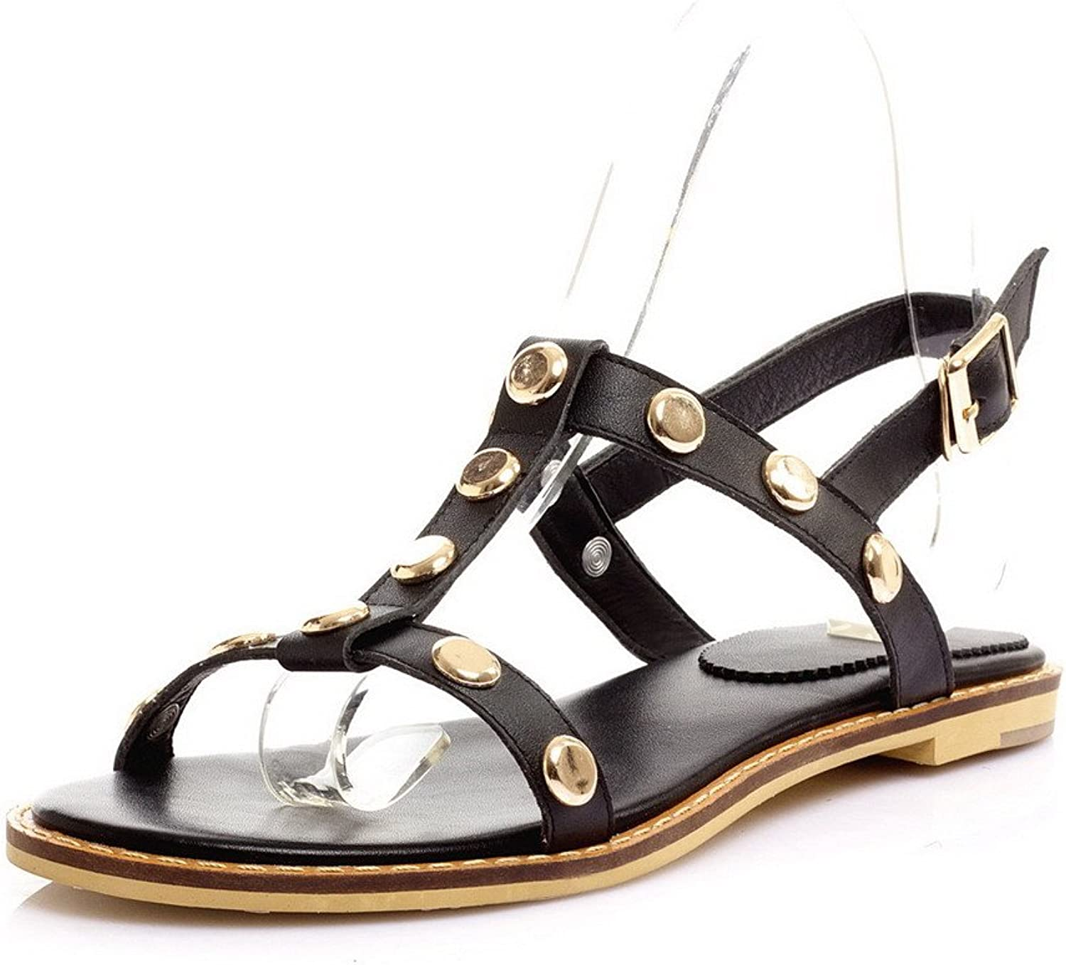 AmoonyFashion Women's No-Heel Soft Material Solid Buckle Open Toe Sandals