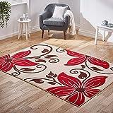 Voxel - Alfombra (Polipropileno, 60 x 120 cm), diseño Floral, Color Negro y Rojo, Beige/Rojo, 120x170cm