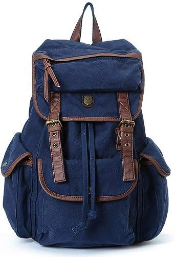 MDD Schulter Canvas Student Bag Outdoor-Reisetasche mit Größer Kapazit M er und Frauen Rucksack Tragbare Multifunktions-Reise-Diebstahlsicherung Leicht und bequem Sch im Aussehen Wild,Blau