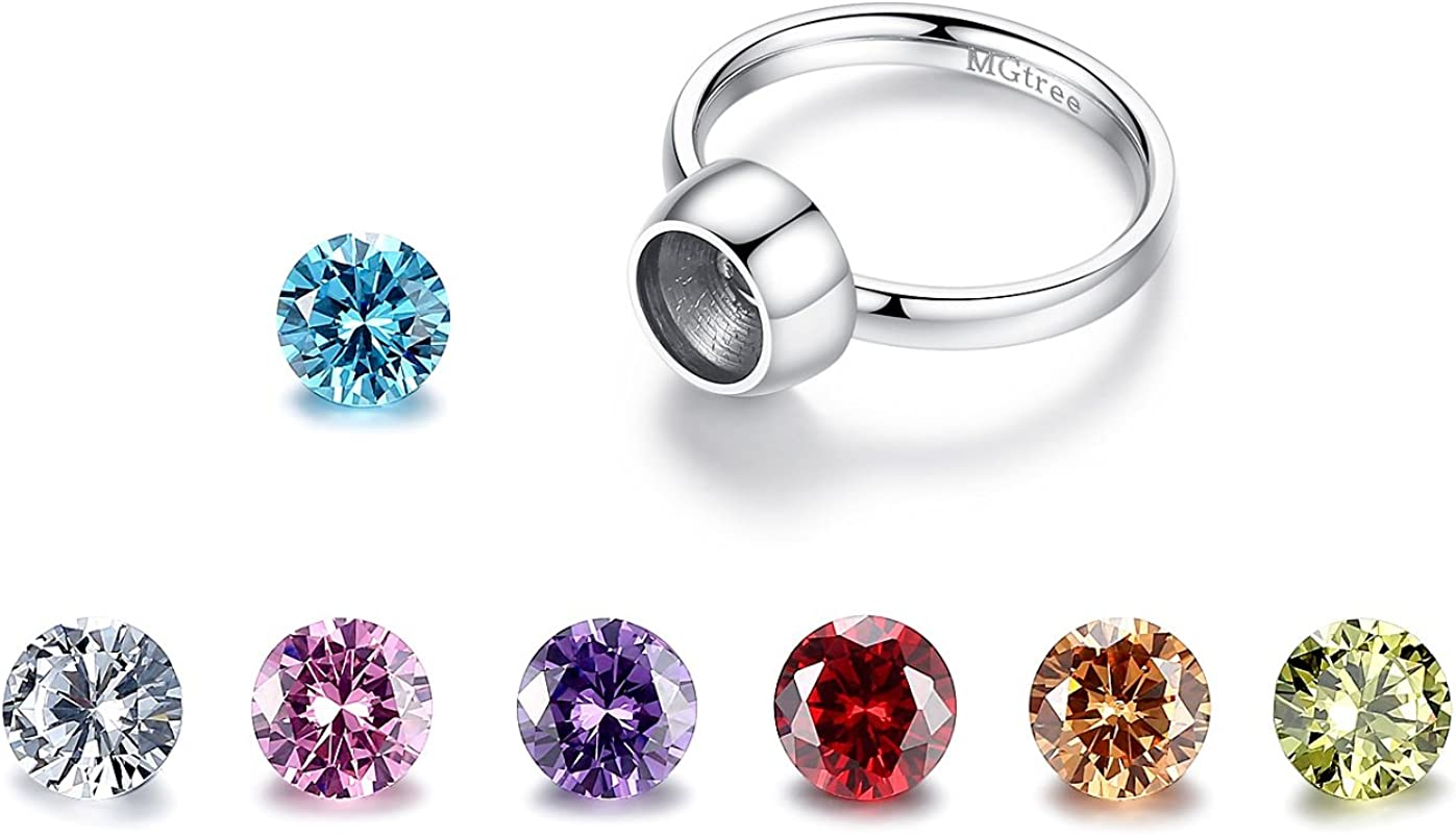 MgTree Jewelry Al sold out. Stainless Steel half Seven Zircon CZ Cubic Round Color