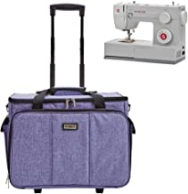 HOMEST Deluxe Sewing Machine Case on Wheels, Rolling Trolley Tote with Shoulder Strap and Strong Carry Handles, Compatible with Singer & Brother Machine