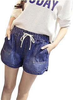 ZhongJue(ジュージェン) デニム ショートパンツ レディース ゆったり ウエストゴム ファッション 短パン ダメージ加工ストリート ショーパン 大きいサイズ