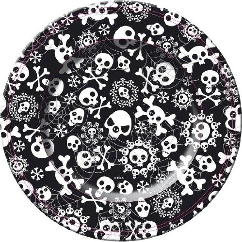8 platos Horror. Negro con calaberas blancas