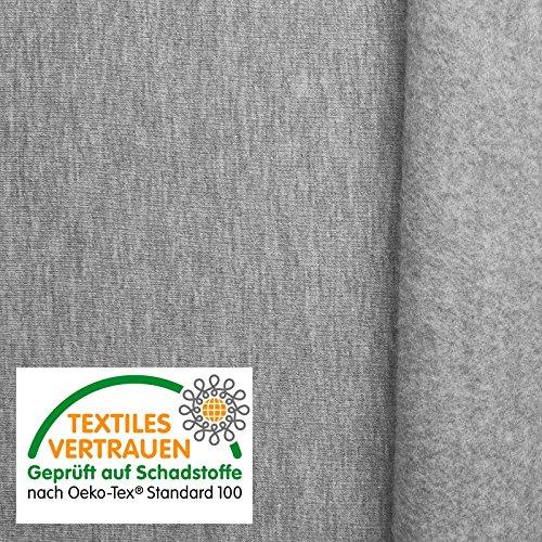 aktivstoffe (12,99€/m) Oeko-Tex® Sweat - Tela de algodón elástica - 9 Colores - por Metro (Gris Claro)