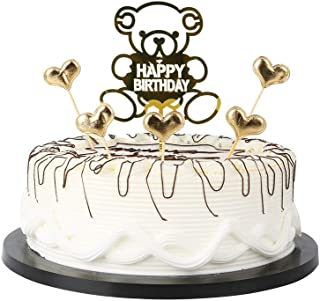"""Gold Cartoon Bear Happy Birthday Cake Toppers letters""""happy birthday""""and love star Beautiful Acrylic Cake Decoration Sign ..."""
