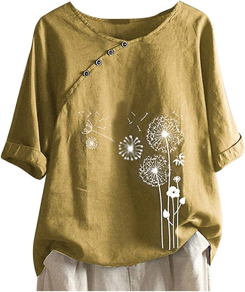 Women's Casual Loose Tops O-Neck Cotton Linen Buttons T-Shirt Plus Size Dandelion Print Blouse Tees Short Sleeve