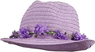 SS/Hat Women's Flower Lei Paper Fedora - Lavender