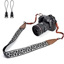 LIFEMATE Camera Strap Shoulder Neck Belt for All SLR/DSLR (Black Floral Patterns)
