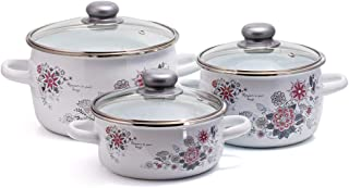 Spring 3 Enamelware Cooking Pot Set - Stock Pot Set with Lid - Enameled Steel