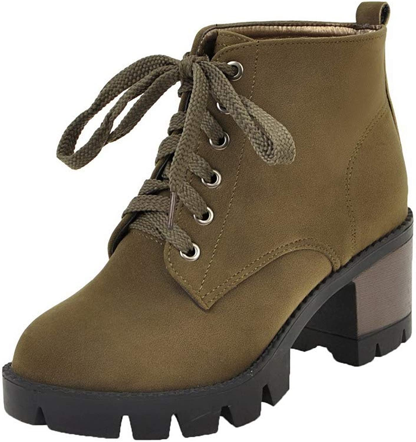WeiPoot Women's Round-Toe Low-Top Kitten-Heels Solid Frosted Boots, EGHXH121421