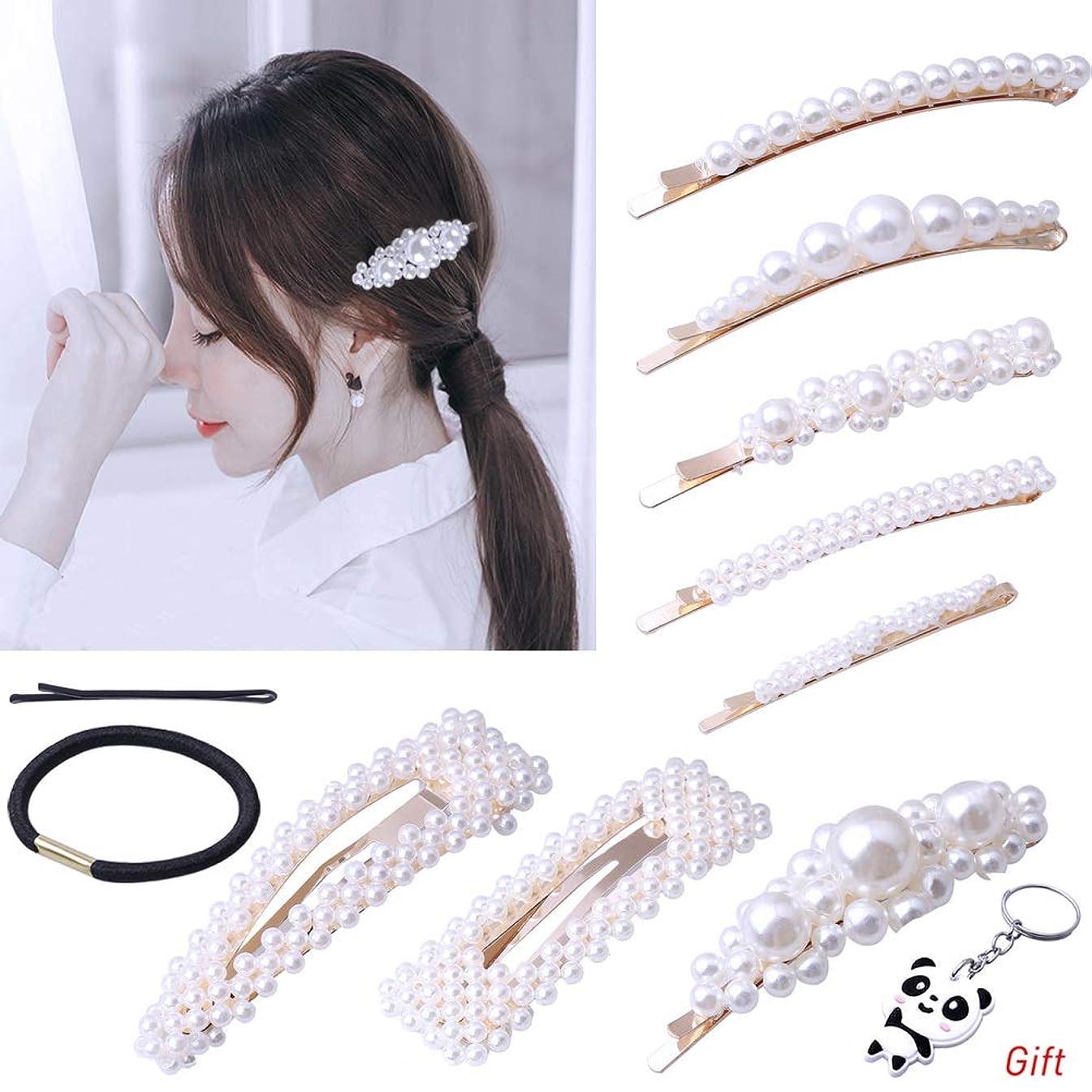 8 Pcs Pearls Hair Clips, Color Scissor Pearls Hair Barrettes for Girls Women Wedding Bridal Artificial Pearl Hairpins Hair Accessories