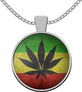 sarothdesignstore Weed Lovers Necklace - JAH Rastafarian Flag Pendant - Marijuana Stoner Gifts 420 Ganja Rasta Accessories