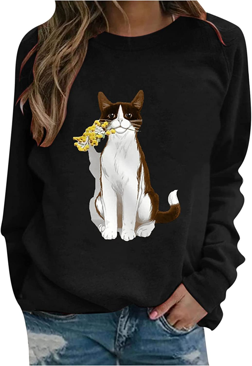 Cardigan Sweaters for Women,Womens Casual Cat Print Sweatshirt Loose Fit Pullover Tops