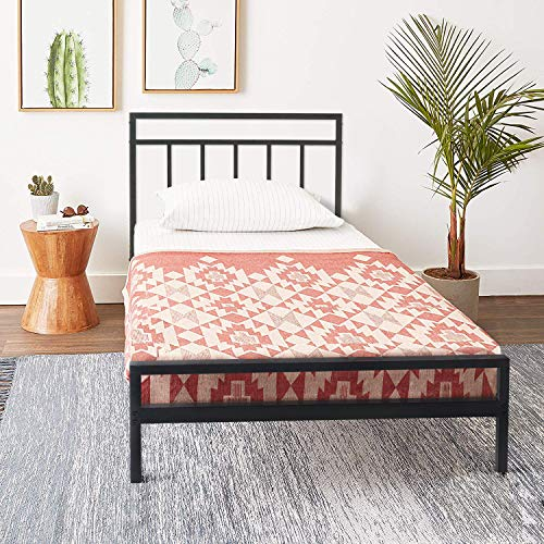 Best Price Mattress Twin Frame-Mission 10 Inch Heavy Duty Metal Platform Bed w/Headboard Mattress Foundation (No Box Spring Needed), Black