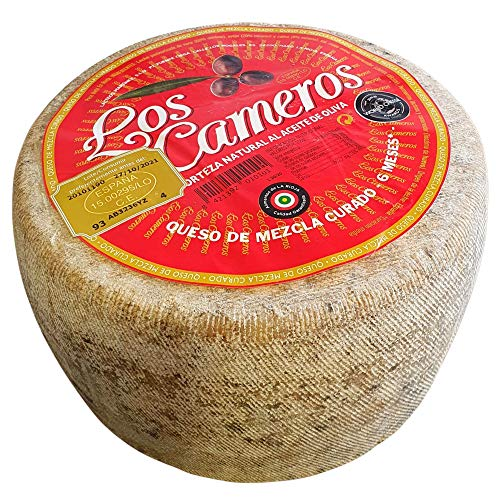 Queso Mezcla Curado Los Cameros - Queso Curado Etiqueta Roja Los Cameros - Peso Aproximado 3.4 Kilos - Elaborado con una sabia combinación de leches de vaca, oveja y cabra