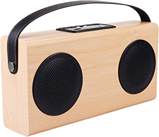 Wireless Buletooth Stereo Speaker A006 Portable Wood Bluetooth V2.1 Stereo Speaker with Mic, Support Hands-Free & AUX Line in & FM & USB Power Bank & LED Display (Black) (Color : Yellow)
