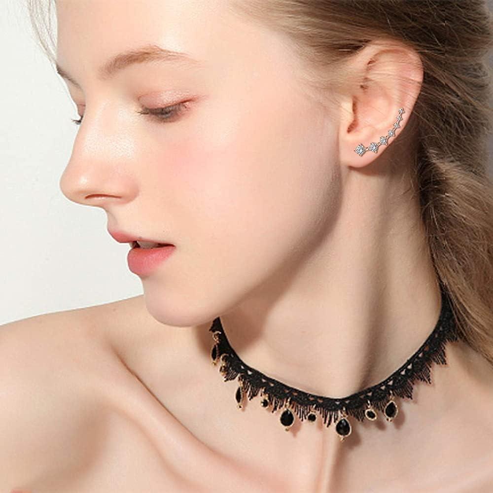 Lysee Body Jewelry - 2pcs Ear Cuff Climber Earrings 7 CZ Cubic Zirconia Crawler Earrings Hypoallergenic Ear Studs Round Piercing Oreja Woman Jewelry