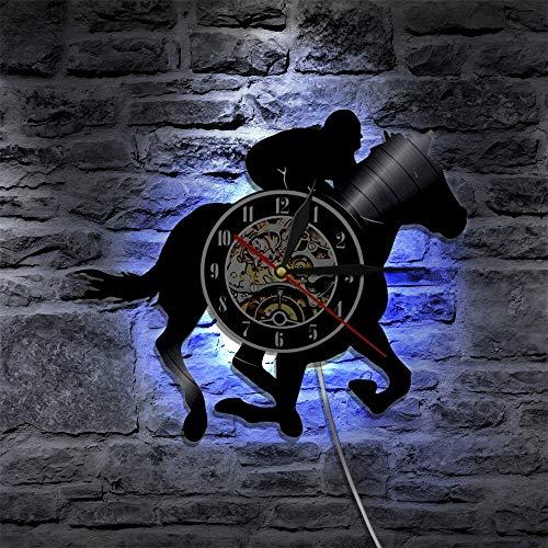 Reloj de pared con diseño de caballo de jinete para hombres y mujeres, de vinilo, decoración de arte hecho a mano, vintage, relojes con luces LED