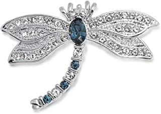 Bling Jewelry Dragonfly Brooch Pin for Women Blue CZ Simulated Sapphire Cubic Zirconia Garden Insect Motif Rhodium Plated Brass