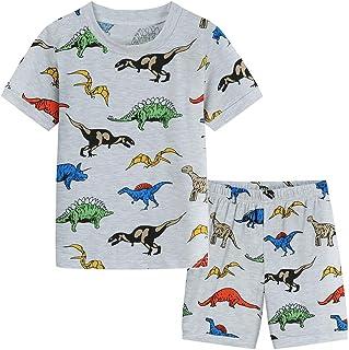 POBIDOBY Little Boy Clothing Set Toddler 2 PCS Short Set Cartoon Print T-Shirt and Shorts