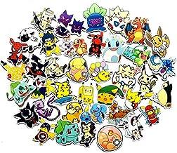 XINFAN Cartoon Lot de 17 autocollants Pokémon Kawaii Pikachu Anime Wall réutilisables pour maison Décration Jouets pour en...