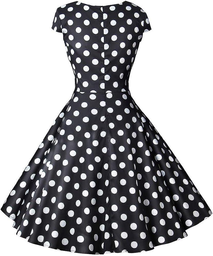 HHIMNO Women's Vintage Swing Dress 1950s A-Line Hepburn Cocktail Party Dresses
