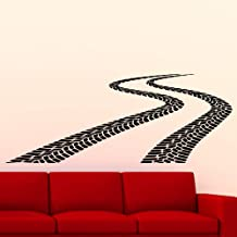 Rownocean Tire Tracks Wall Decal Traces of Tire Garage Vinyl Sticker Mural F811