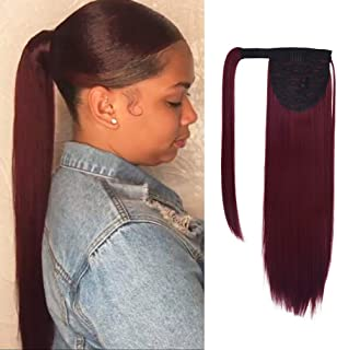 SEIKEA Clip in Ponytail Extension Wrap Around Natural Hairpiece for Women 16 Inch Straight Hair - Wine Red