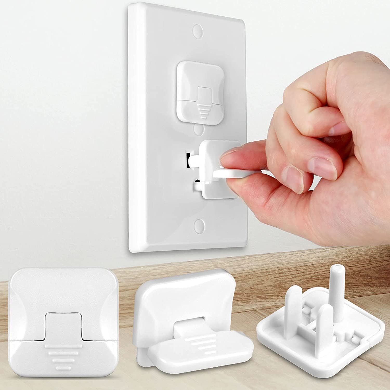 Outlet Covers (45 Pack) with Hidden Pull Handle Baby Proofing Plug Covers 3-Prong Child Safety Socket Covers Electrical Outlet Protectors Kid Proof Outlet Cap