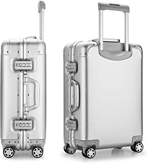 Luggage Hard Case Suitcase 20 Aluminum-Magnesium Alloy Frame & Body Spinner Wheels Zipperless Carry-on with TSA Approved Locks, Silver (Silver) - 3003A