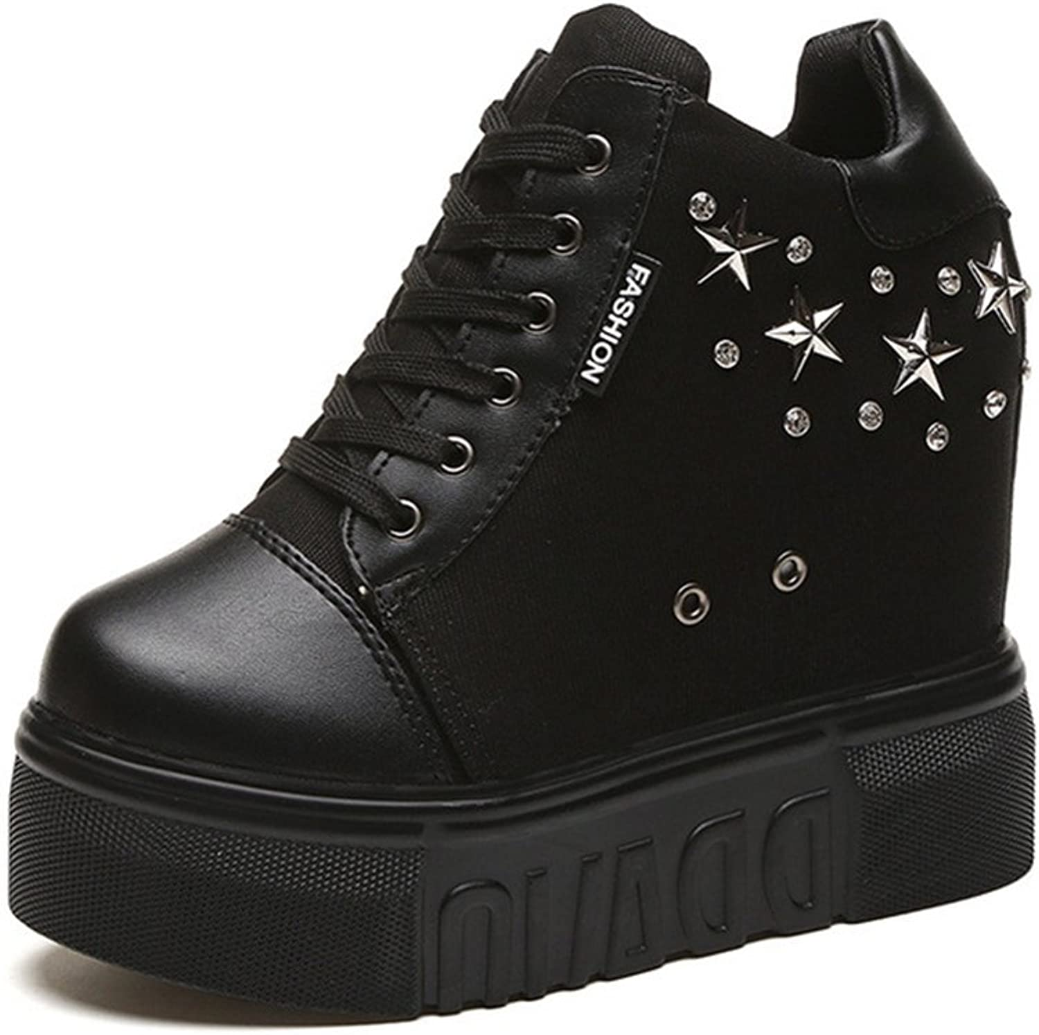 Btrada Women Comfortable Round Toe Lace-Up Decor Rivet Stars Casual shoes High Wedge shoes