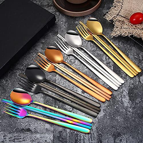JSJJYJM Juego de palillos de cuchara coreana de acero inoxidable 304 para comida sólida, para arroz, vajilla de titanio creativa y dorado (color: tenedor de tenedor negro)