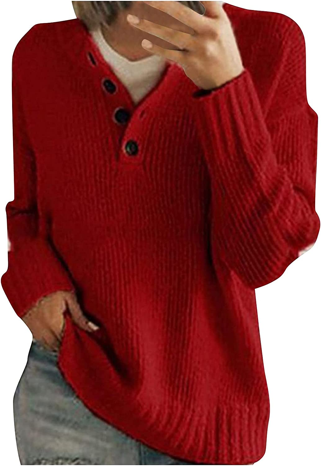 Women's Pullover Sweaters Cute Tops for Women V-Neck Long Sleeve Button Down Solid Color Pullover