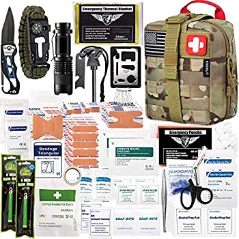 EVERLIT 250 Pieces Survival First Aid Kit IFAK Molle System Compatible Outdoor Gear Emergency Kits Trauma Bag for Camping Boat Hunting Hiking Home Car Earthquake and Adventures  CP Camo