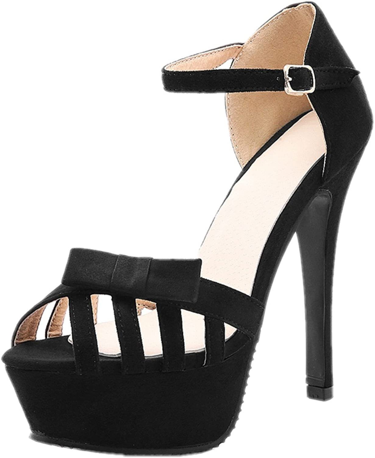 Rongzhi Womens High Heels Ankle Strap Stilettos Pumps Platform Heeled Sandals Prom Party shoes Open Toe Black