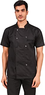 Kodenipr Club Mens Womens Black Chef Coat,LightWeight,Half Sleeves,Poly/Cotton,Size (Large(40))