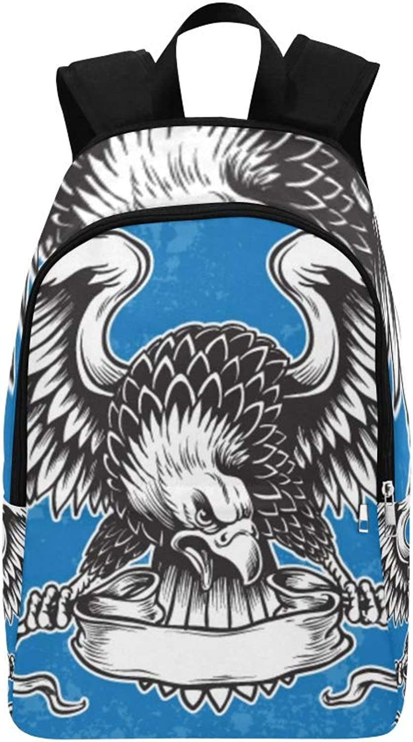 Detailed Hand Drawn Eagle Holding Scroll Casual Daypack Travel Bag College School Backpack for Mens and Women