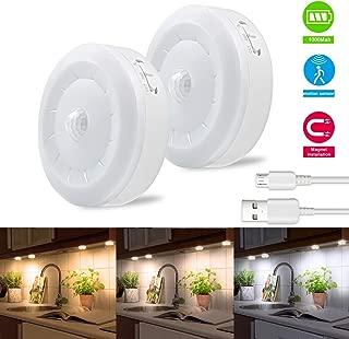 Puck Lights, Bason Motion Sensor Closet Light, 3 Color Temperature Adjustable,USB Rechargeable Wireless Lighting Stick on Kitchen,Display Case,Wardrobe,2-Pack