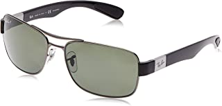 Men's RB3522 Square Metal Sunglasses, Gunmetal/Polarized Green, 64 mm
