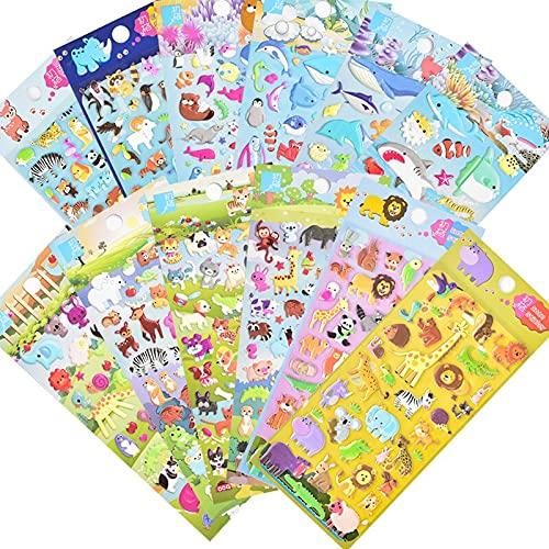 DILIP Pegatinas para Niños (12 Paquetes) Animales Pequeños, Peces del Océano, Juguetes para Niños, Pegatinas De Espuma De Dibujos Animados, Pegatinas, Pegatinas, Libros, Juguetes para Bebés