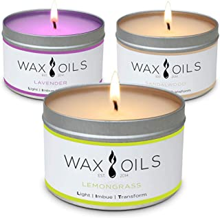 Scented Candles - Lavender, Lemongrass & Sandalwood (Pack of 3) Soy Wax Aromatherapy, 8oz