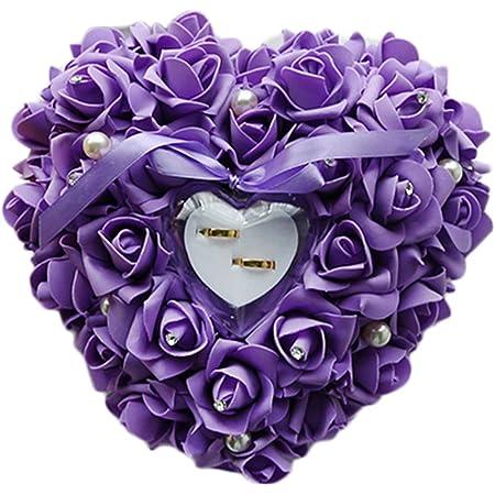 Coeur Forme Anneau Coussin Porteur Bo/îte Romantique Rose Anneau Bo/îte Anneau Oreiller Coussin pour Proposer Le Mariage