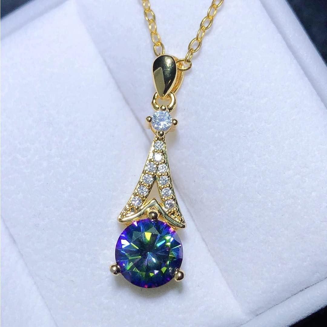 Vintage Japan's largest assortment Female Round Crystal Pendant Necklace Luxury Color Gold Rare