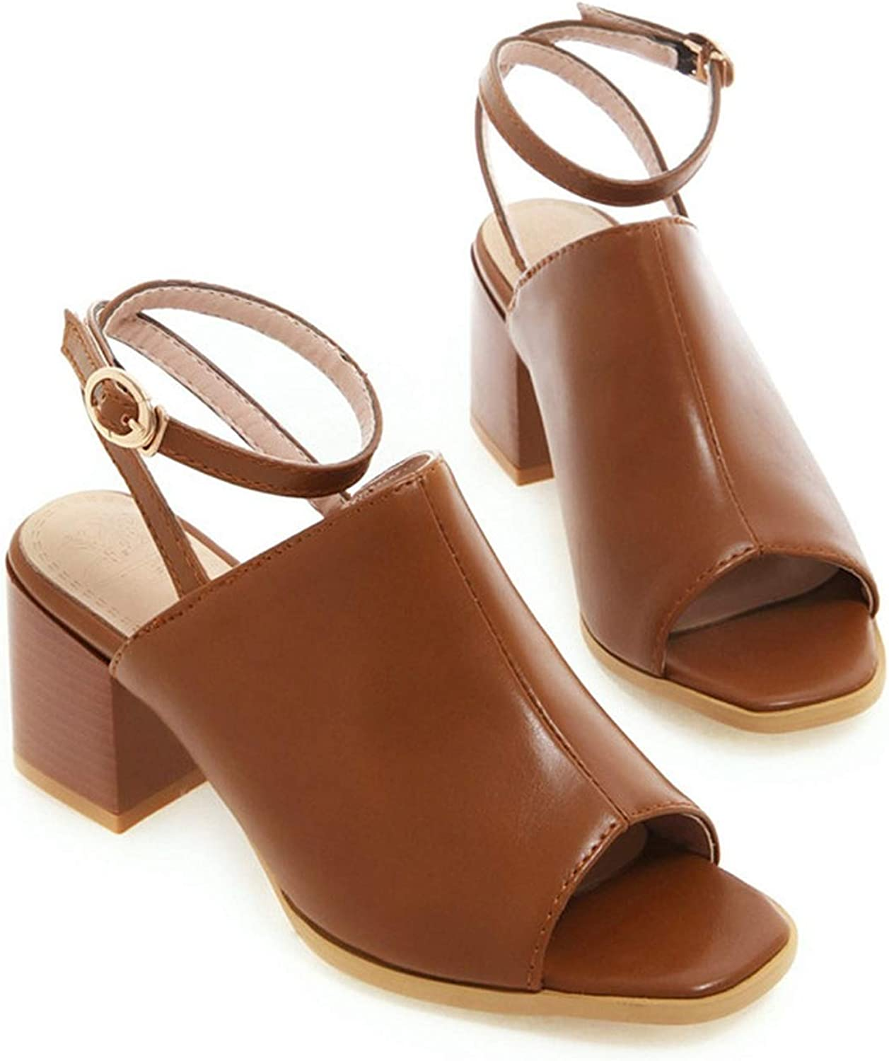 Summer shoes Woman Buckle Square high Heels shoes Women Casual Sandals Women