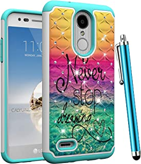 CAIYUNL for LG Aristo 2 Case, LG Tribute Dynasty, Zone 4, Fortune 2, K8 2018,K8 Plus,Risio 3,Rebel 3 LTE Bling Luxury Studded Rhinestone Dual Layer Protective Girls Women Hard Cover -Dearming