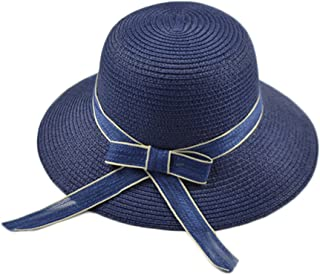 Sweet Cute Basin Cap Visor Straw Hat Straw Hat Female Summer Small Fresh Foldable Beach Hat (Color : Navy, Size : M (56-58cm))