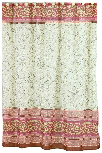 Carnation Home Fashions Fabric Shower Curtain, Victorian, 70-inch by 72-inch