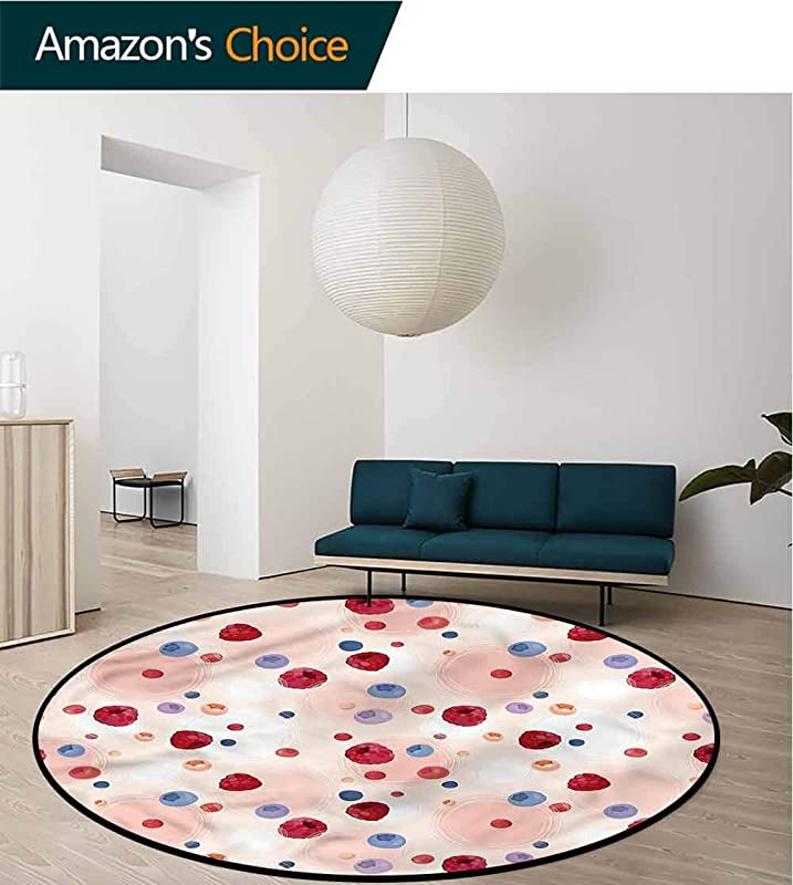 RUGSMAT Peach Non Slip Round Rugs Berries Food Abstract Baby Room Decor Round Carpets Diameter 24