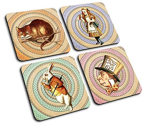 Alice posavasos en caja de regalo, con conejo blanco, Mad Hatter y gato de Cheshire
