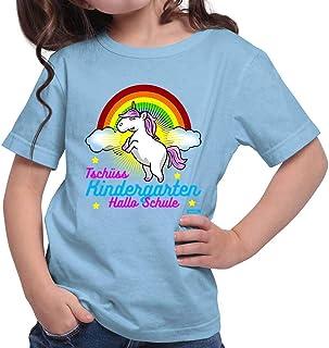 "Hariz - Camiseta de manga corta para niña, diseño con texto ""Chüss Kindergarten Hallo Schul"""